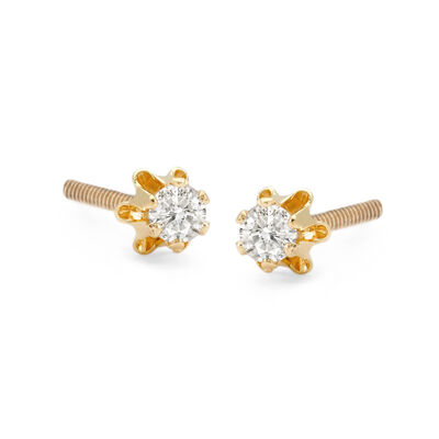 Child's Diamond Accent Stud Earrings in 14kt Yellow Gold , , default