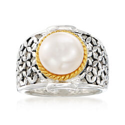 9.5-10mm Cultured Button Pearl Ring in Two-Tone Sterling Silver, , default