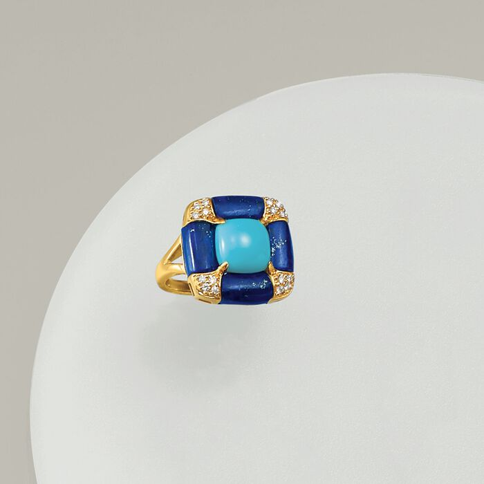 Turquoise and Lapis Ring with .15 ct. t.w. Diamonds in 14kt Yellow Gold