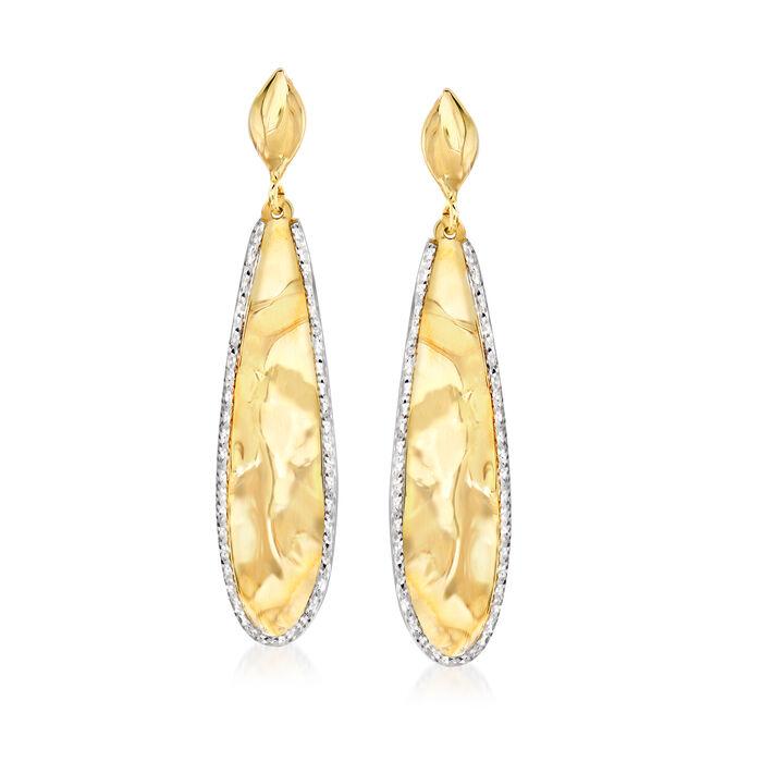 Italian 14kt Yellow Gold and White Rhodium Teardrop Earrings