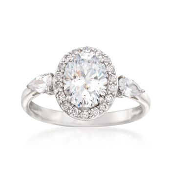 2.65 ct. t.w. CZ Oval Ring in Sterling Silver, , default