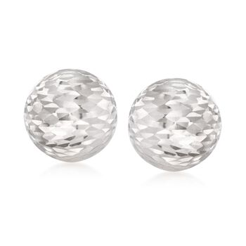 Italian Sterling Silver Diamond-Cut Dome Earrings, , default