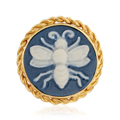 Porcelain Cameo Bee Ring in 18kt Gold Over Sterling, , default