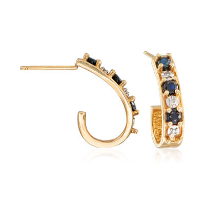 C. 1990 Vintage .50 ct. t.w. Sapphire J-Hoop Earrings with Diamond Accents in 14kt Yellow Gold, , default