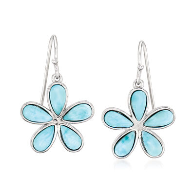 Larimar Daisy Flower Drop Earrings in Sterling Silver