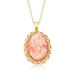 C. 1980 Vintage Pink Coral Cameo Pendant Necklace in 14kt Yellow Gold, , default