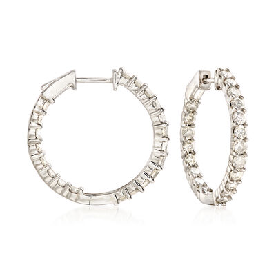 2.00 ct. t.w. Diamond Inside-Outside Hoop Earrings in Sterling Silver, , default