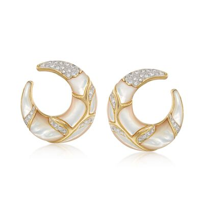 C. 1980 Vintage 1.20 ct. t.w. Diamond and Mother-Of-Pearl Half-Moon Hoop Earrings in 18kt Yellow Gold