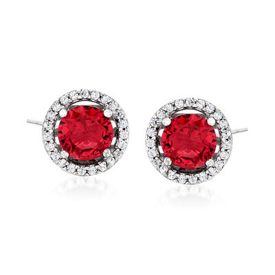 1.60 ct. t.w. Simulated Ruby and .20 ct. t.w. CZ Earrings in Sterling Silver, , default