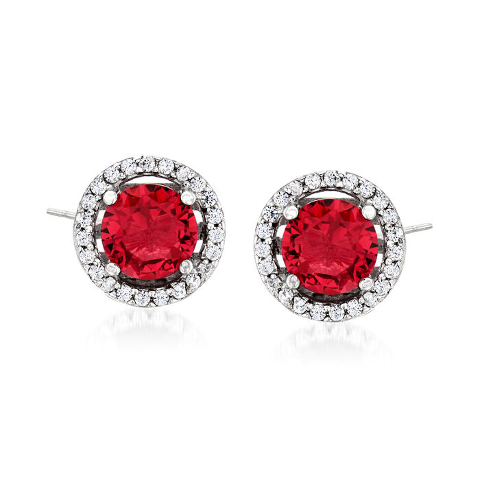 1.60 ct. t.w. Simulated Ruby and .20 ct. t.w. CZ Earrings in Sterling Silver