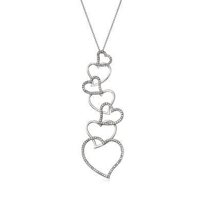 C. 1990 Vintage 2.00 ct. t.w. Diamond Heart Drop Necklace in 18kt White Gold, , default