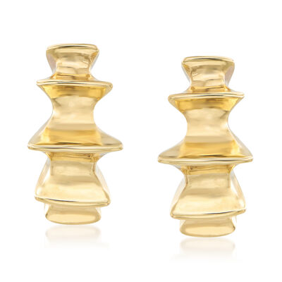 Italian 14kt Yellow Gold Spiked Earrings, , default