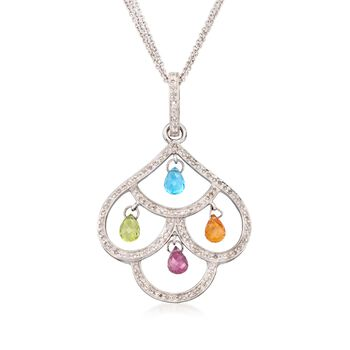 "C. 2000 Vintage 5.35 ct. t.w. Multi-Stone Chandelier Necklace in 14kt White Gold. 18"", , default"