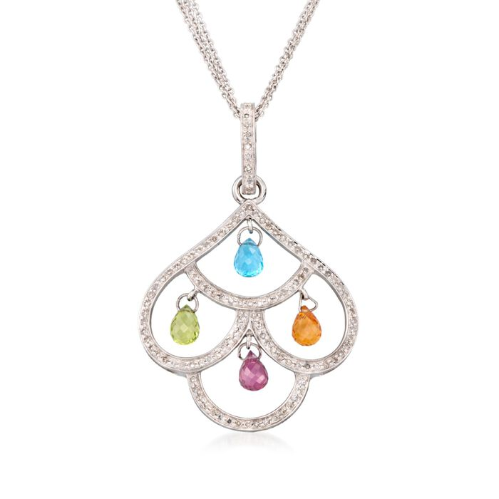 "C. 2000 Vintage 5.35 ct. t.w. Multi-Stone Chandelier Necklace in 14kt White Gold. 18"", , default"