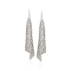 "Swarovski Crystal ""Fit"" Silver Shade Crystal Mesh Drop Earrings in Silvertone, , default"