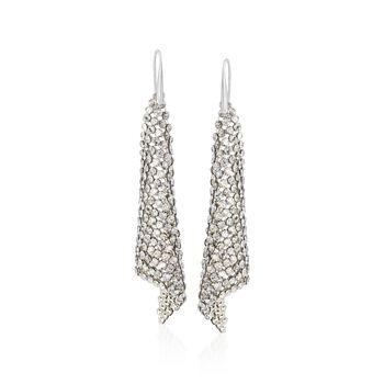 """Swarovski Crystal """"Fit"""" Silver Shade Crystal Mesh Drop Earrings in Silvertone, , default"""