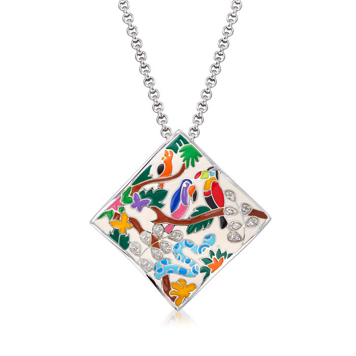 "Belle Etoile ""Tropical Rainforest"" Ivory and Multicolored Enamel Pendant with .14 ct. t.w. CZs in Sterling Silver"