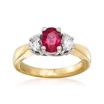 C. 1990 Vintage 1.00 Carat Ruby and .40 ct. t.w. Diamond Ring in 14kt Two-Tone Gold. Size 6.5, , default