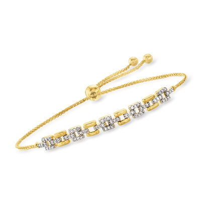 .25 ct. t.w. Diamond Link Bolo Bracelet in 18kt Gold Over Sterling