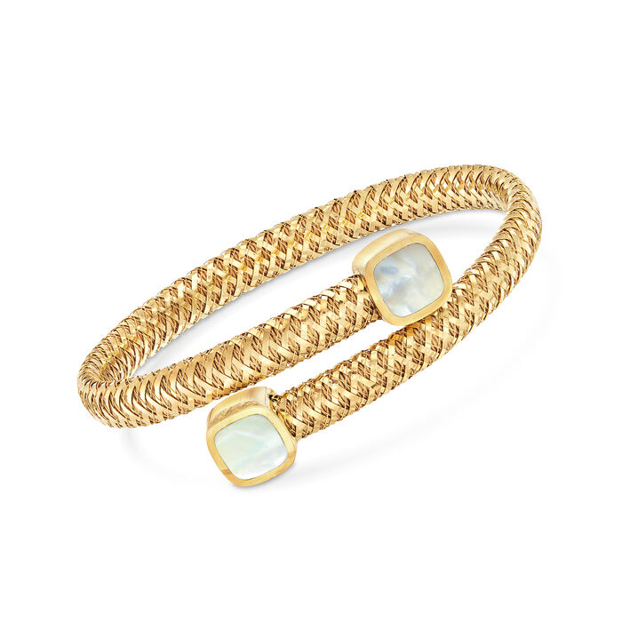 "Roberto Coin ""Primavera"" 8mm Mother-Of-Pearl Bypass Bracelet in 18kt Yellow Gold. 7"", , default"