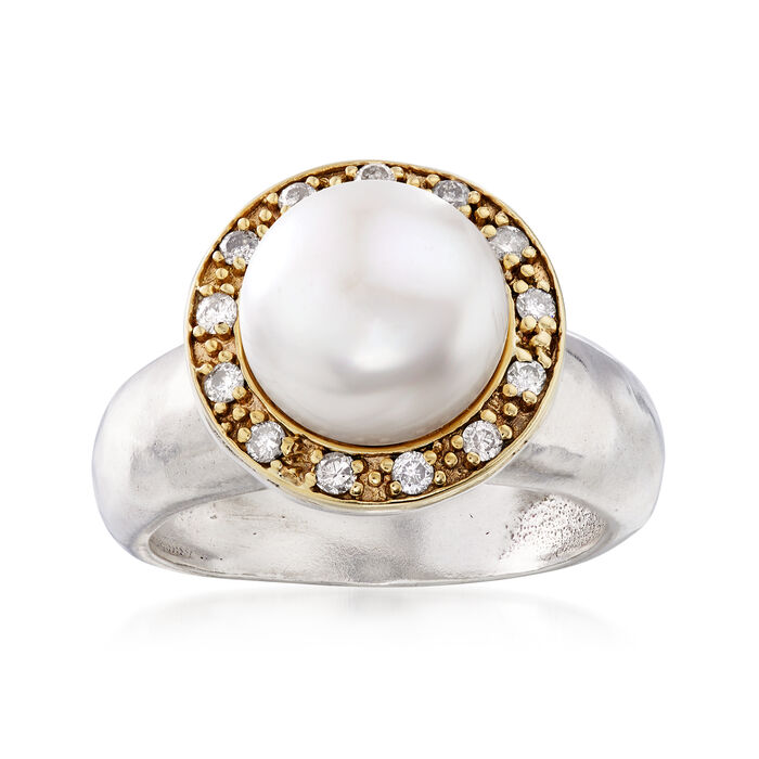 10mm Cultured Pearl and .20 ct. t.w. Diamond Ring in Sterling Silver and 14kt Yellow Gold, , default