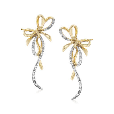 .20 ct. t.w. Diamond Bow Earrings in 14kt Yellow Gold, , default