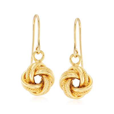 Italian 14kt Yellow Gold Love Knot Drop Earrings