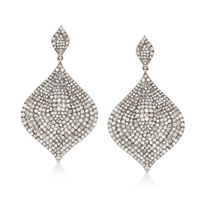 7.55 ct. t.w. Pave Diamond Drop Earrings in Sterling Silver, , default