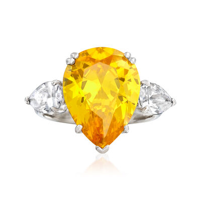 10.50 ct. t.w. Pear-Shaped Canary and White CZ Ring in Sterling Silver, , default