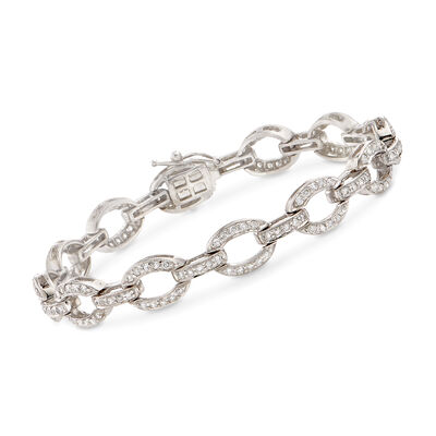 C. 2000 Vintage 1.80 ct. t.w. Diamond Link Bracelet in 14kt White Gold, , default