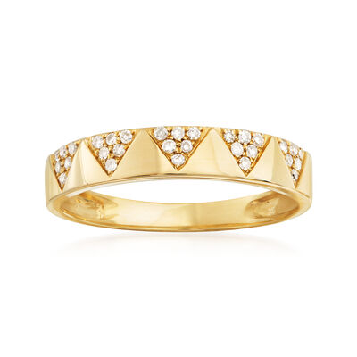 .15 ct. t.w. Pave Diamond Chevron Band 14kt Yellow Gold