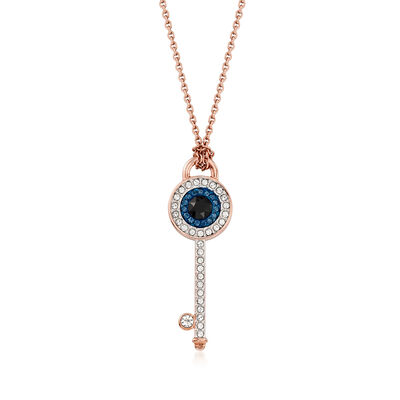 Swarovski Crystal Evil Eye Key Pendant Necklace in Rose Gold-Plated Metal, , default