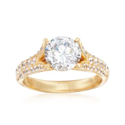 2.00 ct. t.w. CZ Solitaire Ring in 18kt Yellow Gold Over Sterling Silver, , default
