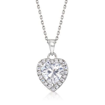 2.20 ct. t.w. CZ Heart Pendant Necklace in Sterling Silver