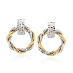 14kt Two-Tone Gold Twisted Circle Doorknocker Earrings, , default