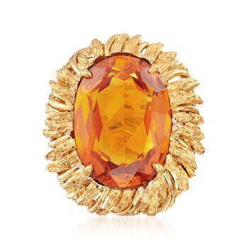 C. 1960 Vintage 18.70 Carat Citrine Ring in 14kt Yellow Gold. Size 6, , default