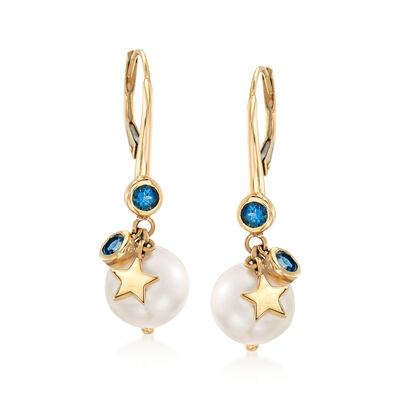 9-10mm Cultured Pearl and .50 ct. t.w. London Blue Topaz Drop Earrings in 14kt Yellow Gold, , default