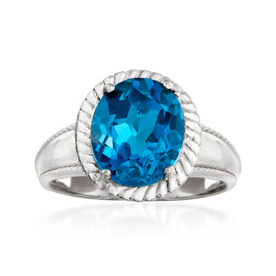 4.10 Carat London Blue Topaz Ring in Sterling Silver