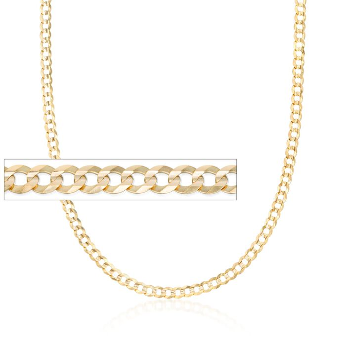 Men's 3.6mm 14kt Yellow Gold Curb Link Necklace