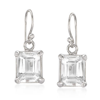 6.50 ct. t.w. Emerald-Cut White Topaz Drop Earrings in Sterling Silver, , default