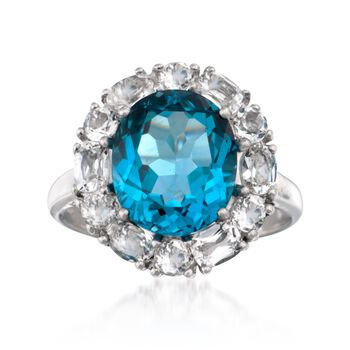 4.70 Carat London Blue Topaz and 1.50 ct. t.w. White Topaz Ring in Sterling Silver, , default