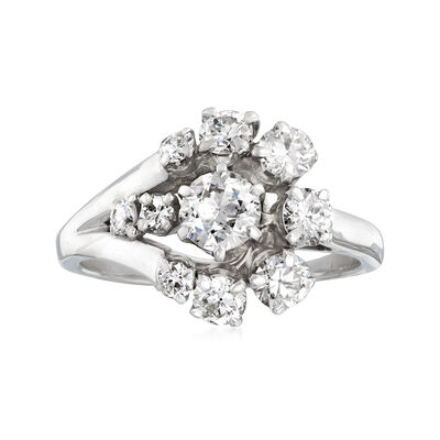 C. 1960 Vintage 1.80 ct. t.w. Diamond Floral Cluster Ring in 14kt White Gold, , default
