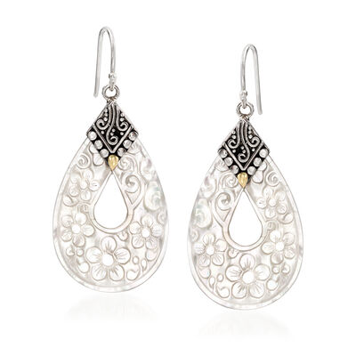 Mother-Of-Pearl Floral Drop Earrings with Sterling Silver and 18kt Yellow Gold, , default