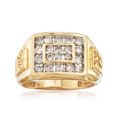 C. 1990 Vintage Men's 1.00 ct. t.w. Diamond Ring in 14kt Yellow Gold, , default