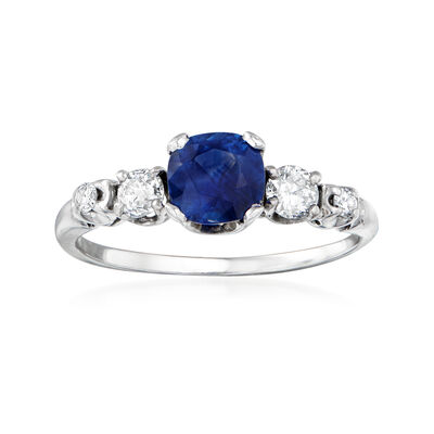 C. 2000 Vintage 1.05 Carat Sapphire and .40 ct. t.w. Diamond Ring in 14kt White Gold