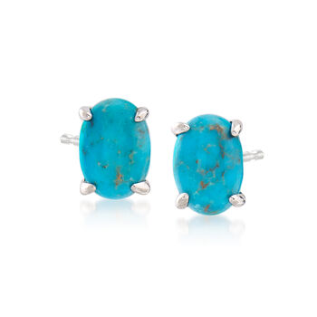 Turquoise, Pink Opal and Lapis Jewelry Set: Stud Earrings in Sterling Silver