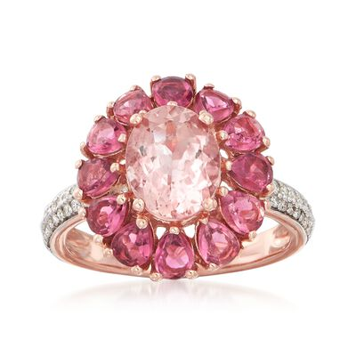 1.70 Carat Morganite and 1.70 ct. t.w. Pink Tourmaline Ring with .20 ct. t.w. Diamonds in 14kt Rose Gold, , default