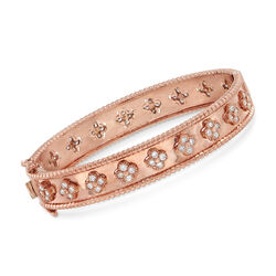 "C. 1990 Vintage 1.80 ct. t.w. Diamond Clover Pattern Bangle Bracelet in 14kt Rose Gold. 7"", , default"
