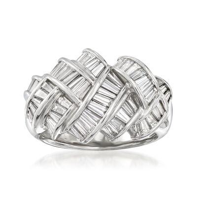 C. 1990 Vintage 2.30 ct. t.w. Diamond Braided Ring in Platinum