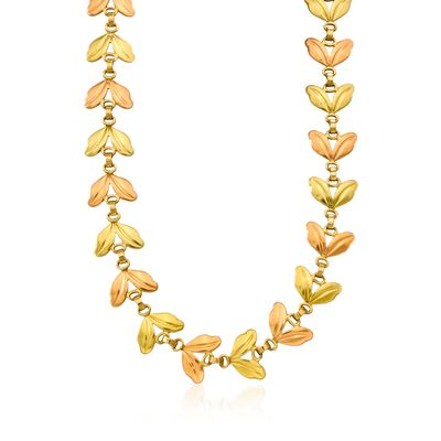 C. 1940 Vintage 14kt Two-Tone Leaf Necklace, , default